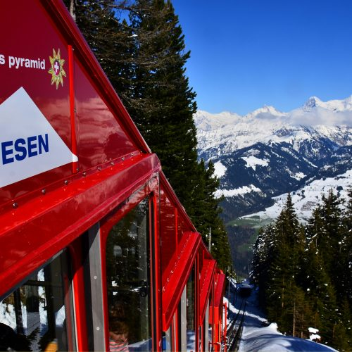 View from the Niesen funicular railway on Eiger Moench and Jungfrau