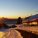 The Vitznau Rigi railway at sunset