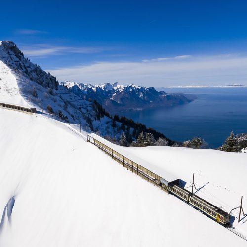 The Rochers de Naye funicular railway in winter