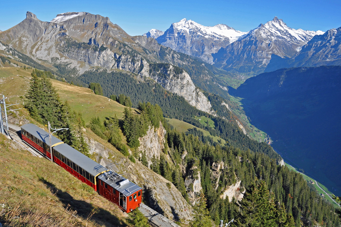 The Schynige Platte railway and the deep Grindelwald valley