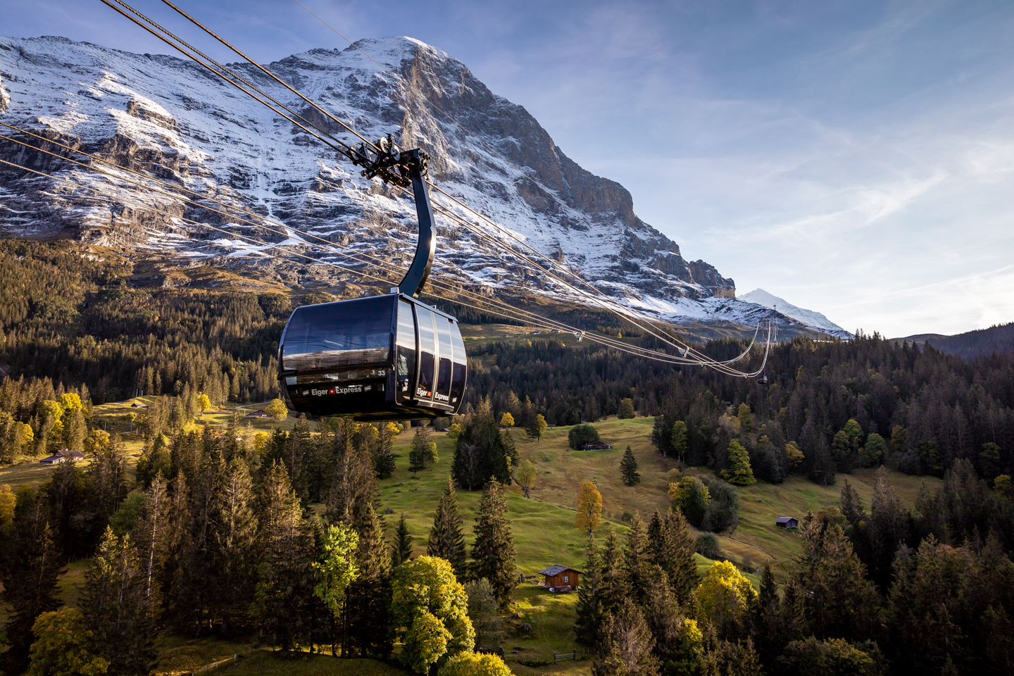The newly opened Eiger Express underneath the impressive Eiger North Face