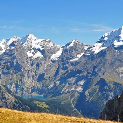 View of Lake Oeschinen from the Allmenalp above Kandersteg