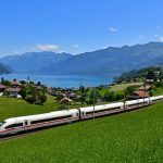 train passing Lake Thun