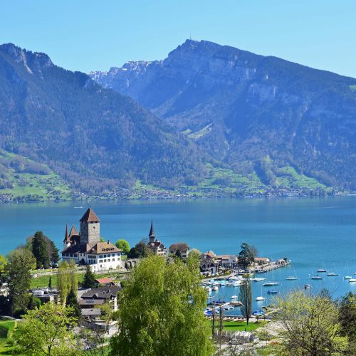 Spiez castle and the beautiful bay area