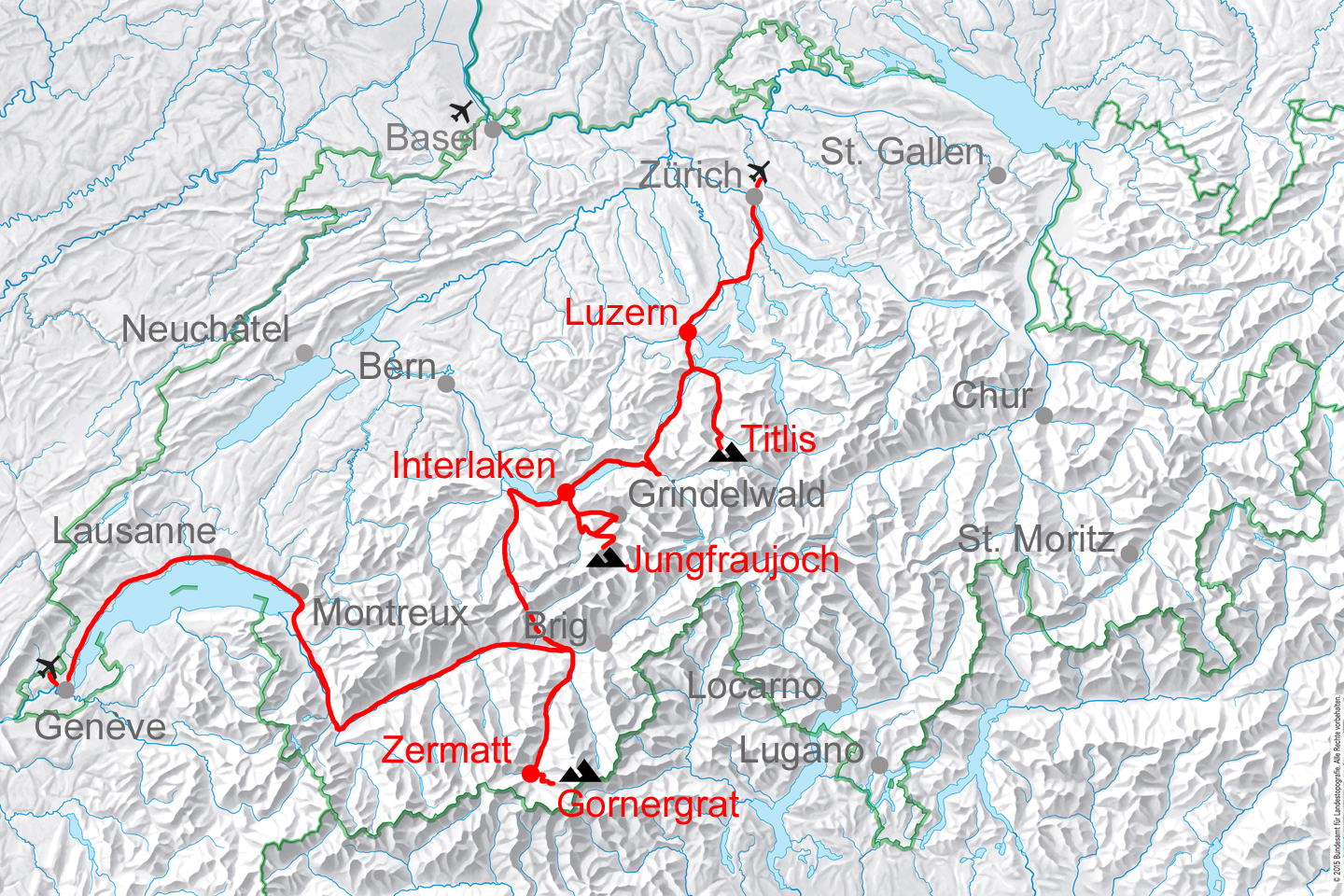 map for Highlights of Switzerland