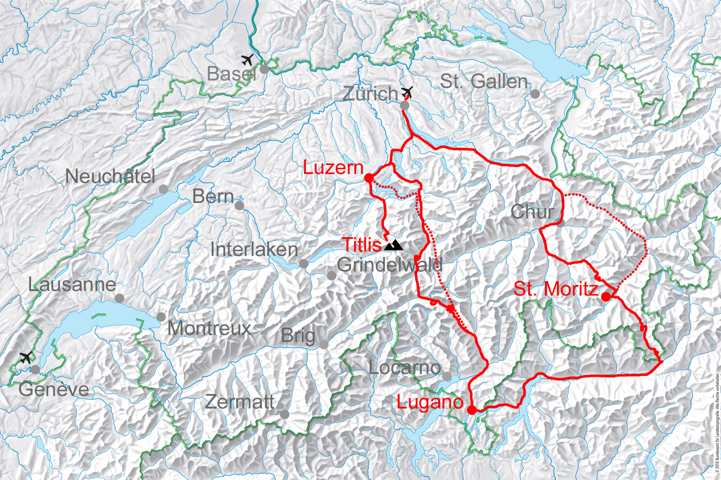 map for Lakes and Glaciers