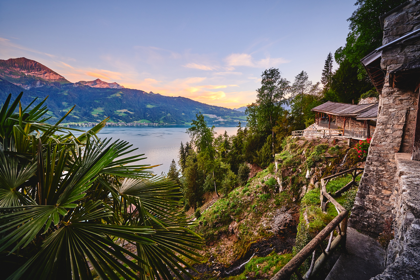The view from the entrance of the Beatus caves on Lake Thun