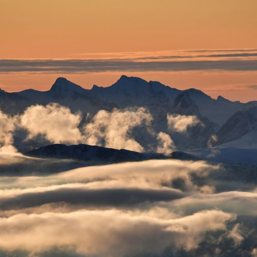 At sunset the colours, clouds and mountain shapes present their glory