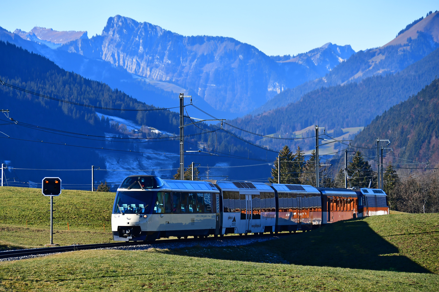 GoldenPass Line near Gstaad with the Gruyeres mountians in the background