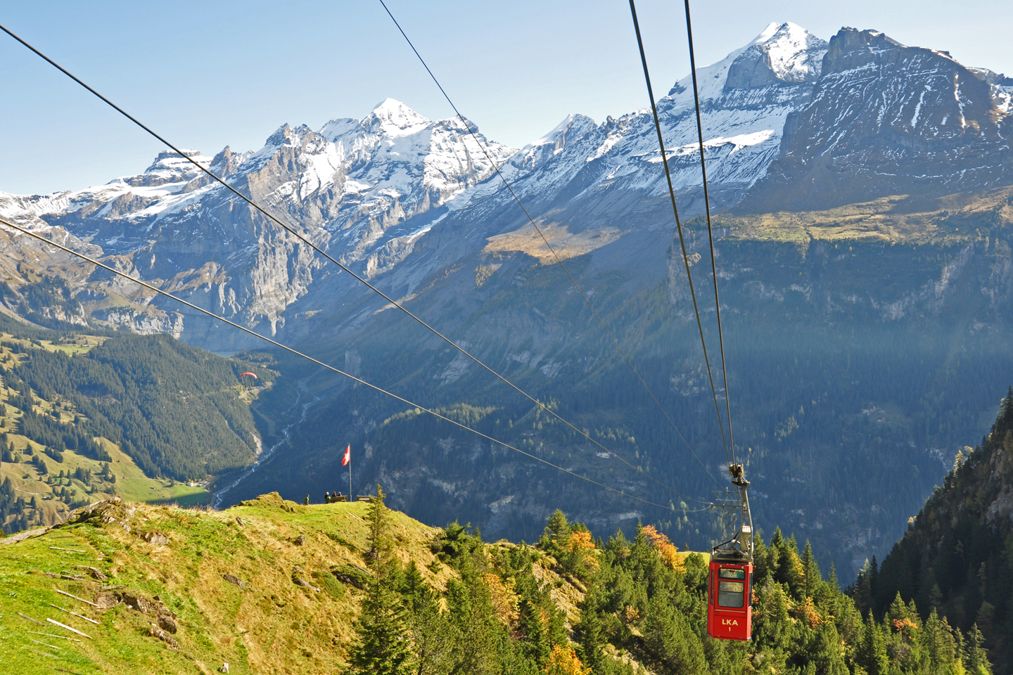 The tiny cable car to the Allmenalp above Kandersteg