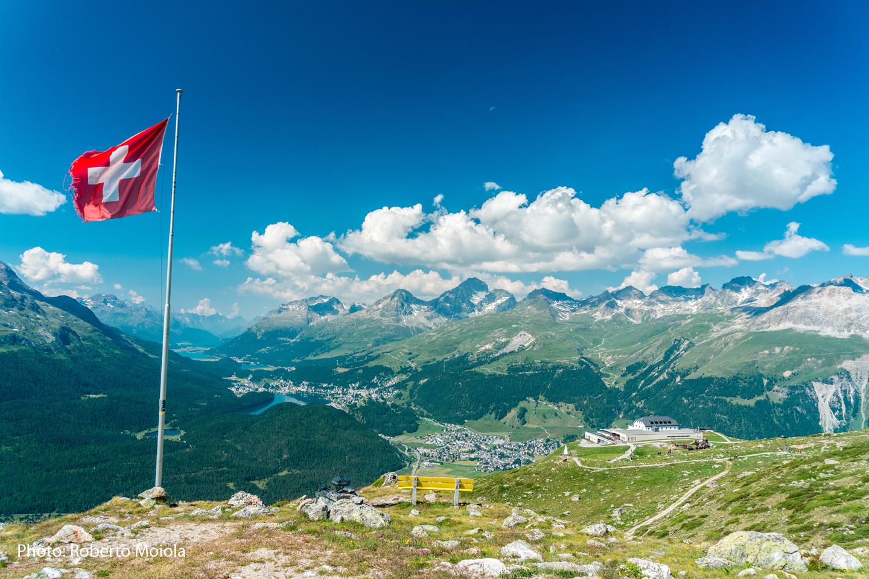 The view from Muottas Muragl towards St. Moritz