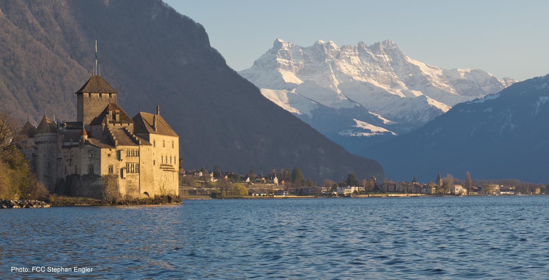 Chillon castle on Lake Geneva with Dents du Midi