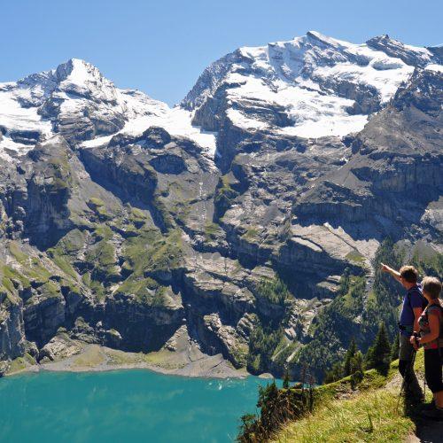 Enjoying the view over Lake Oeschinen near Kandersteg
