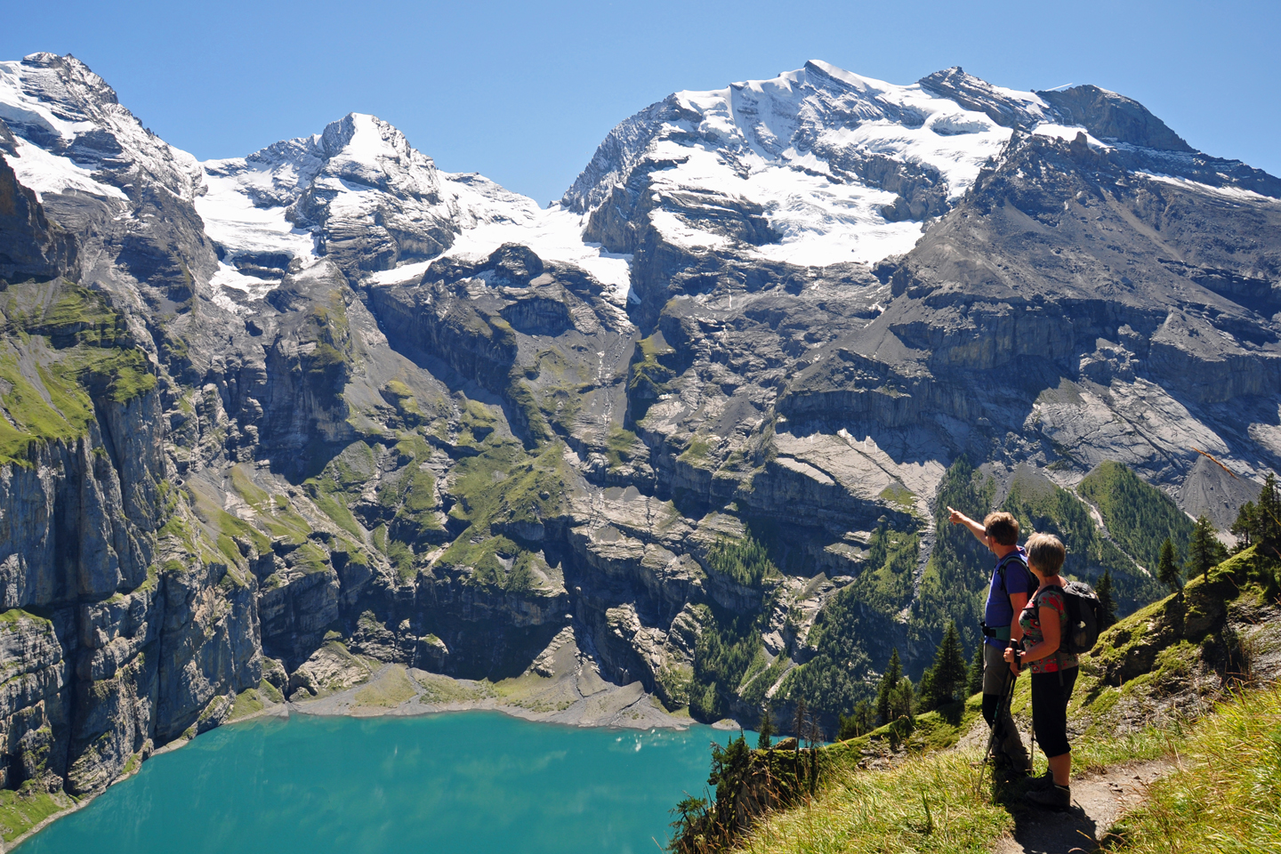 Enjoying the view over Lake Oeschinen near Kandersteg