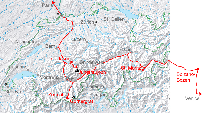 map for Venice Zermatt Paris