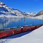 Bernina railway in winter