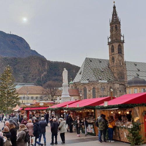 The central square of Bolzano/Bozen with its Christmas market