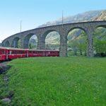 Bernina railway in Brusio