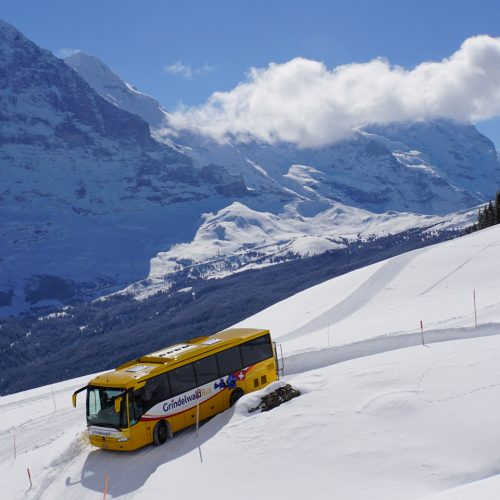 The Swiss Post Busses also scale the mountains in winter