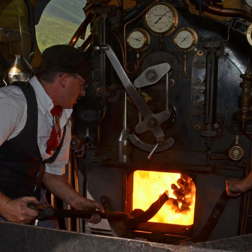 Furka steam train is fired with coal