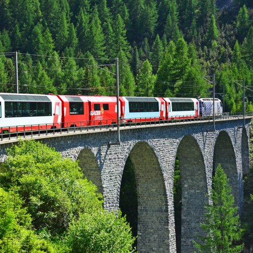 The Glacier Express on the Albula line heading for St. Moritz