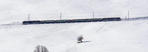 The GoldenPass Belle Epoque train in winter
