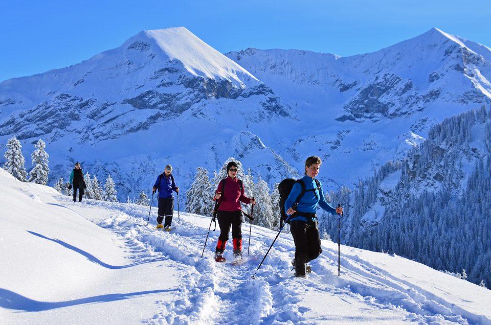 Hiking in winter near Interlaken