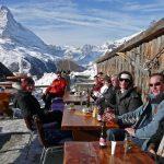 Enjoying the winter sun above Zermatt with Matterhorn view