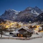 Grindelwald at night in winter