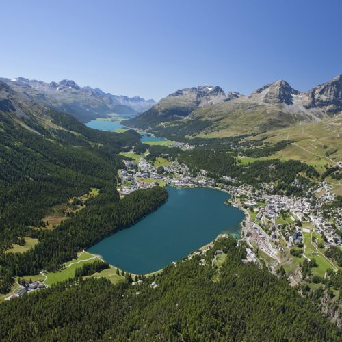 St. Moritz and the lakes seen from above