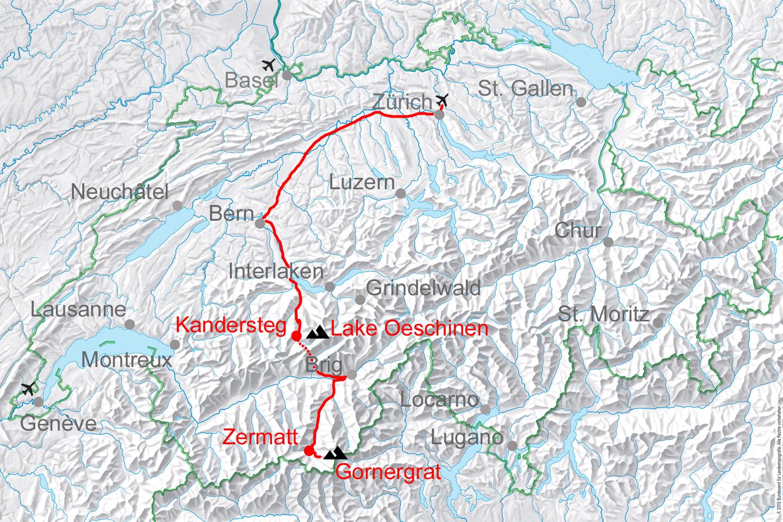 map for Swiss alpine tour