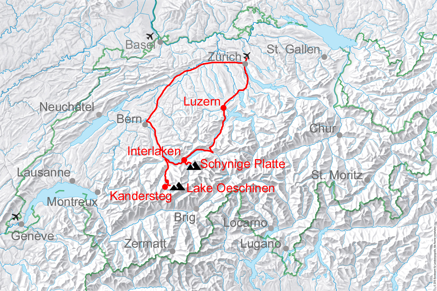 map for historic Swiss tour