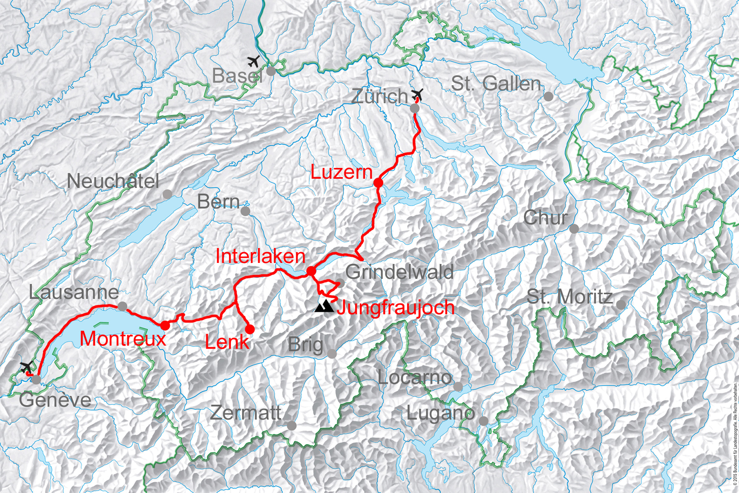 map for Golden Pass and Bernese Oberland