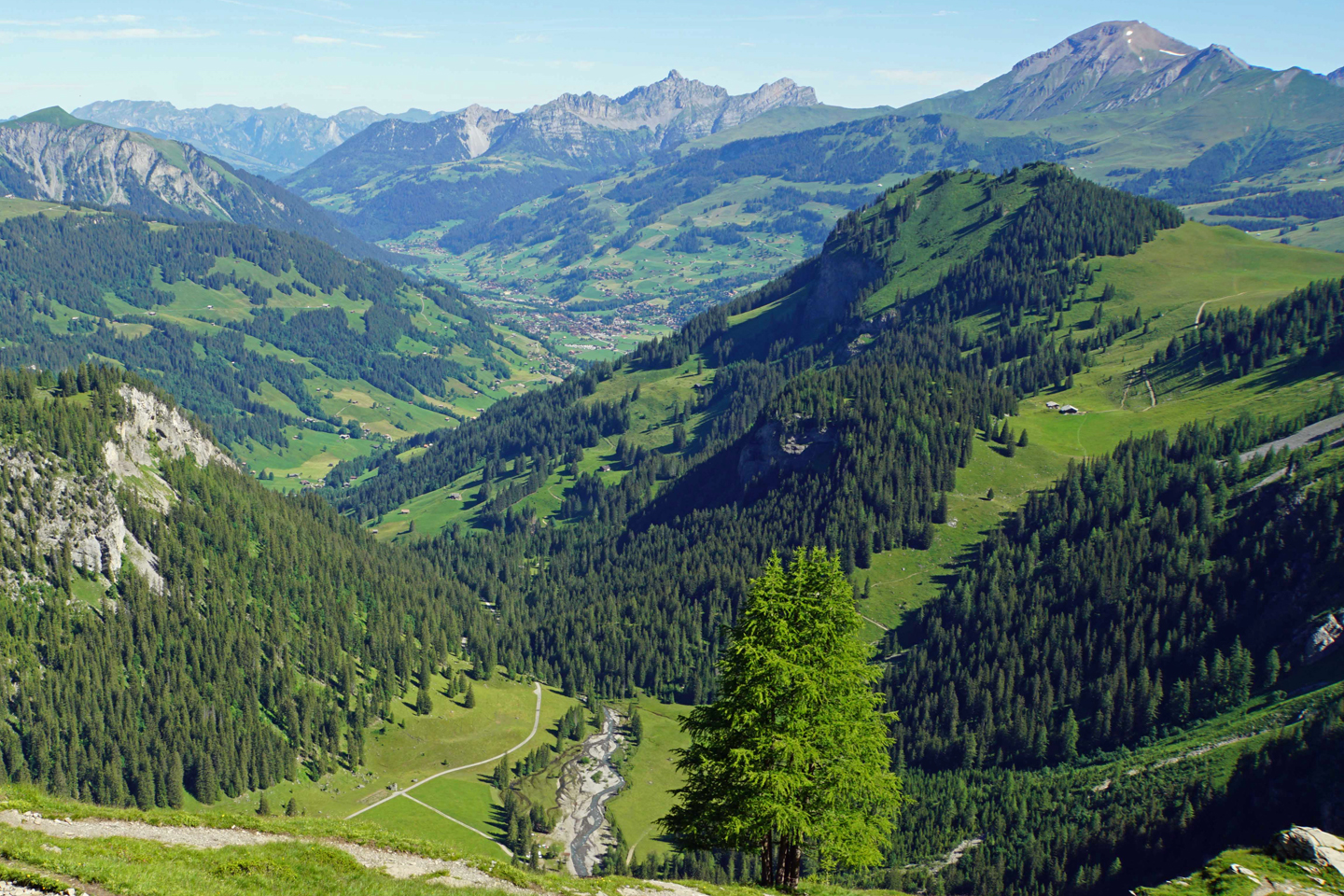 The village of Lenk is surrounded by alpine meadows and the Bernese Oberland mountains