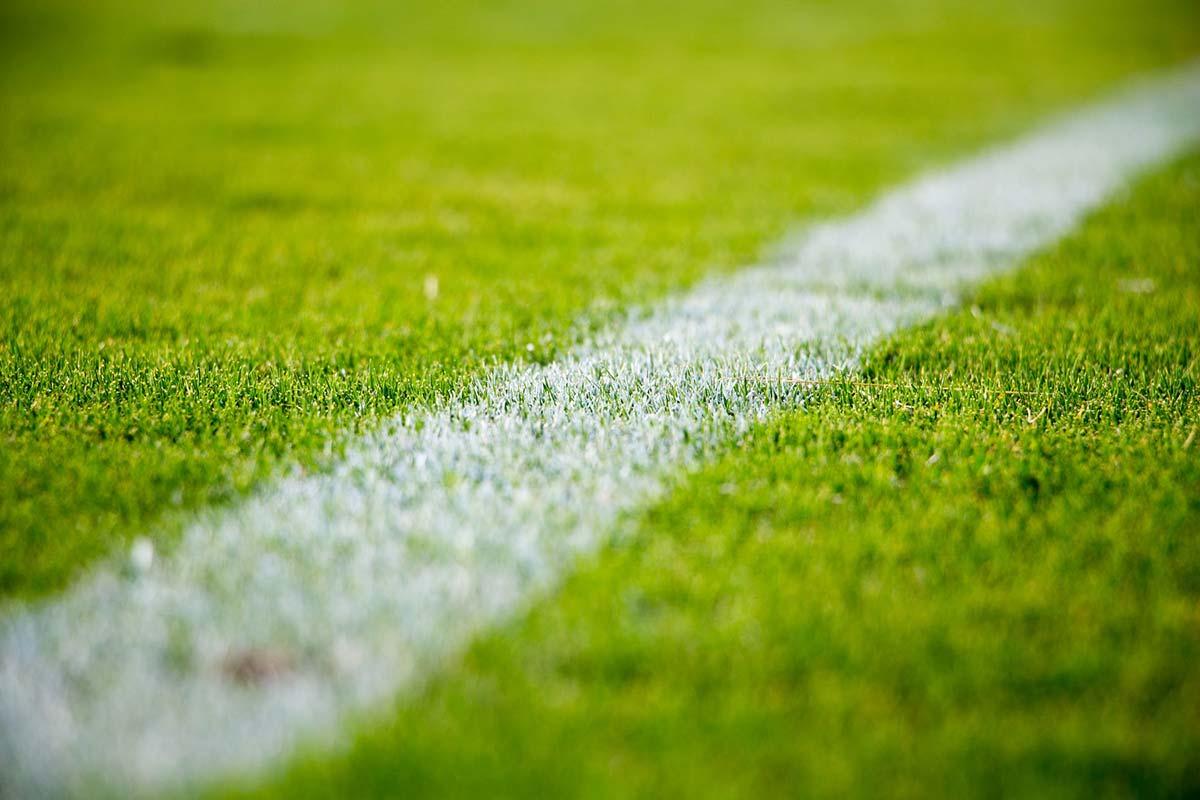 voetbalplein gras en witte lijn