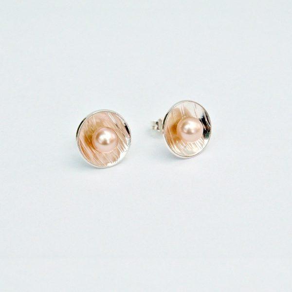Zilveren oorstekers roze zoetwaterparel