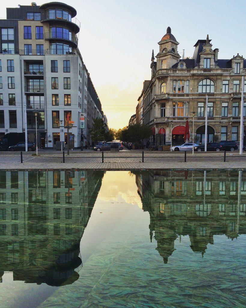 Sunset reflection in Antwerp