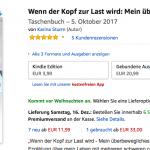 """Screenshot des Buches """"Wenn der Kopf zur Last wird: Mein überbewegliches Leben"""" von Karina Sturm. Das Cover zeigt zwei Hände, die eine Schale formen und die Illustration eines zebragestreiften Schmetterlings der in den Händen sitzt."""