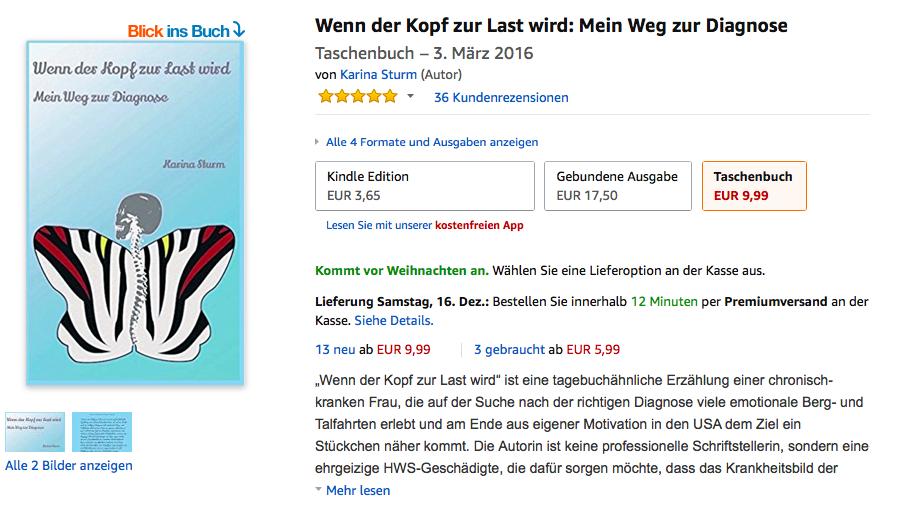 """Screenshot des Buchs """"Wenn der Kopf zur Last wird: Mein Weg zur Diagnose"""" von Karina Sturm. Das Cover ist blau und zeigt einen wie ein Zebra gestreiften Schmetterling mit einer Wirbelsäule als Körper."""
