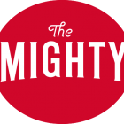 The Mighty Logo: White letters on red background