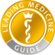 A circular logo with he text: leading medicine guide and the symbol for medicine in the middle.
