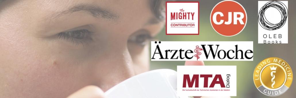 Nahaufnahme einer Frau, die Kaffee trinkt. Logos von Magazinen z. B. the Mighty, Ärzte Woche, MTA Dialog