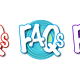 Frequently Asked Questions Button in orange, blue and purple
