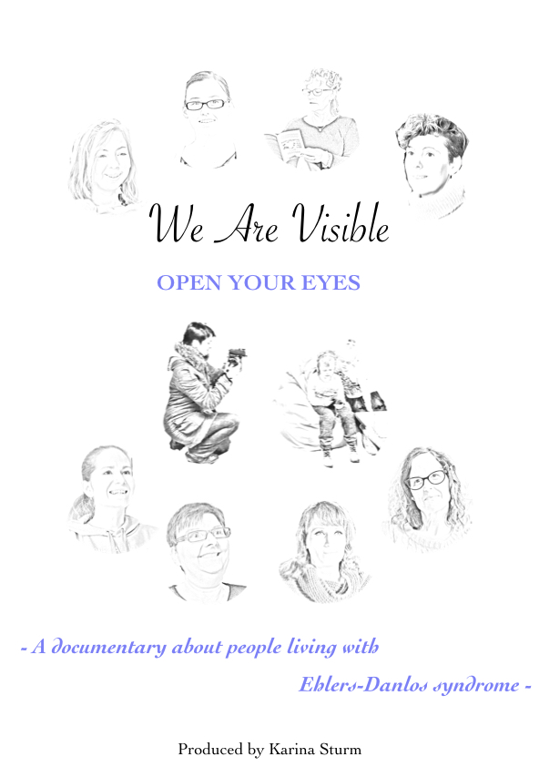 This poster shows all contributors of the film 'We Are Visible' as pencil sketches around the words: Open your eyes