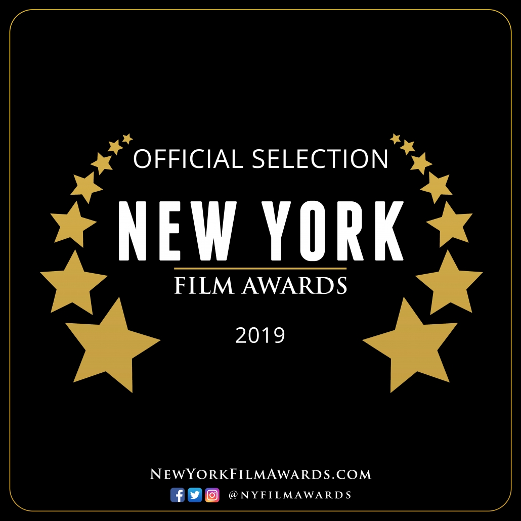 White letters on black background: Official selection, New York Film Awards, 2019