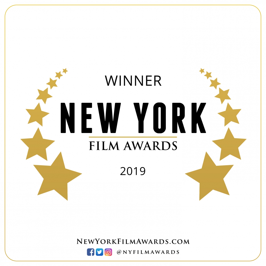 Winner Laurel: Black letters on white background with stars surrounding them. Winner New York Film Awards 2019
