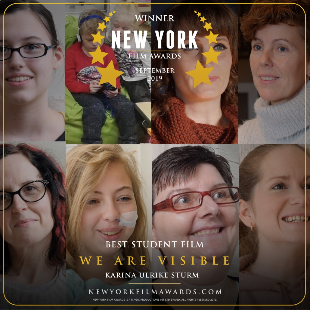 Gewinnerurkunde NY Film Awards. Eine Fotocollage von acht Frauen und zwei Kindern und Text: Winner, New York Film Awards, September 2019, Best Student Film, We Are Visible, Karina Ulrike Sturm.
