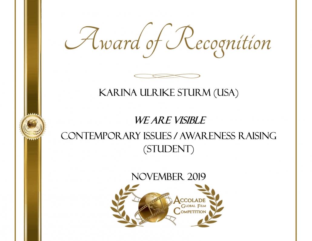 Award of Recognition: Karina Ulrike Sturm, We Are Visible, Awareness Raising