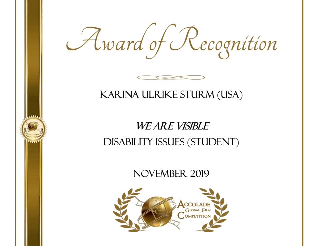 Award of Recognition: Karina Ulrike Sturm, We Are Visible, Disability Issues