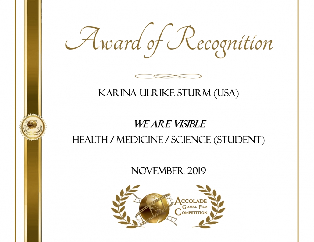 Award of Recognition: Karina Ulrike Sturm, We Are Visible, Health/Medicine/Science